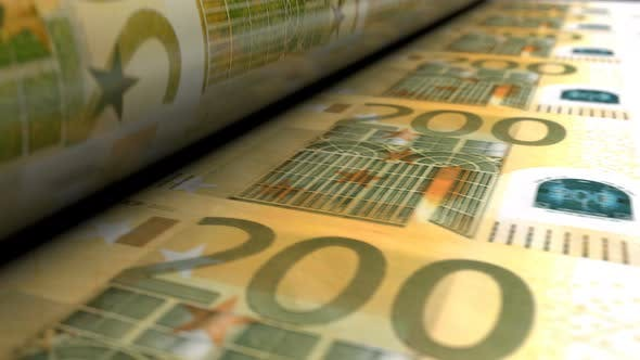 Thumbnail for Close-up of Euro Money Press Machine Printing 200 EUR Banknotes