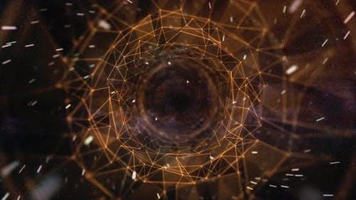 Orange Fractal Wormhole - Space Tunnel
