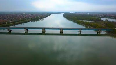 Modern Bridge Over the Longest River in Italy