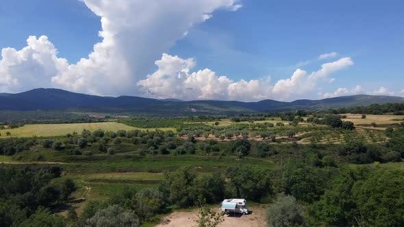 Camper On Sunny Hills Of Spain