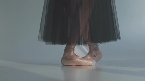 Thumbnail for Ballerina in a Black Transparent Skirt Shows Classic Ballet Pas. Ballet Dancer's Feet
