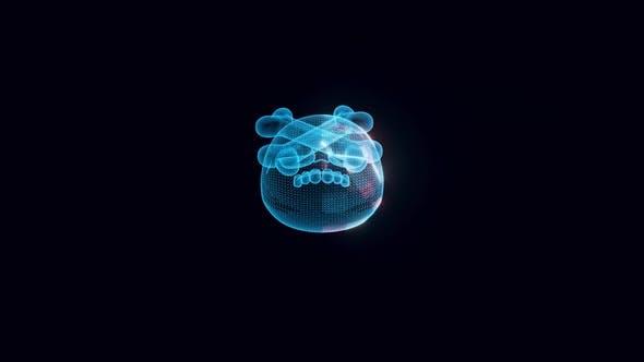 Stylized Human Skull And Bones Hologram 4k