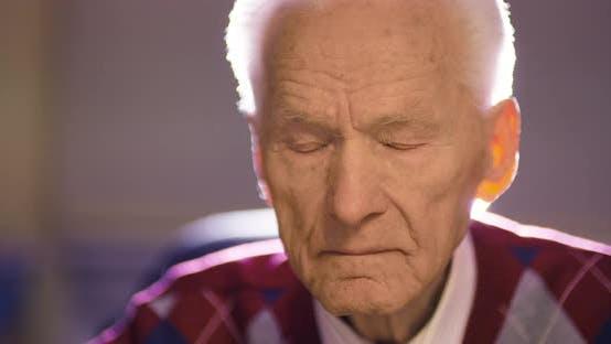 Thumbnail for Sleepy Senior Wrinkled Businessman Blinking Eyes