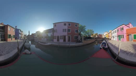 Thumbnail for 360 VR Burano Island Scene with Traditional Houses, Canal and Bell Tower. Italy