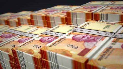 Indian rupee money banknote pack growth up loop