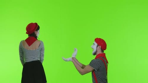 Mimes Marry Me On A Green Background