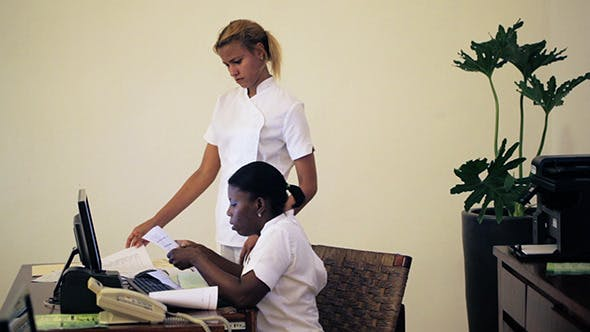 Thumbnail for Two Women Receptionists Working At Beauty Spa