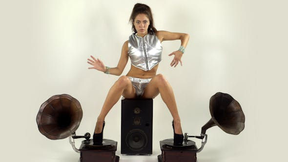 Sexy Female Dancing With Gramophones 1