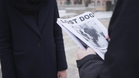 Close-up of Male Caucasian Hands Giving Missing Dog Ad To Unrecognizable Woman. People Searching for