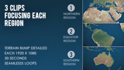 Rotating Earth World Map - 3 Region Focus