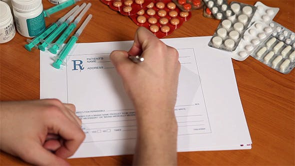 Thumbnail for Doctor Writing A Prescription Form