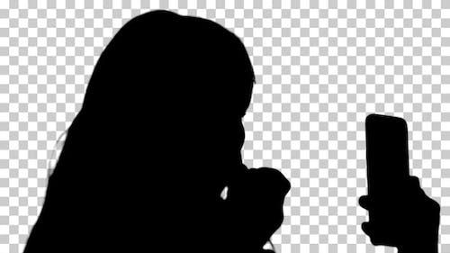 Silhouette  woman applying , Alpha Channel