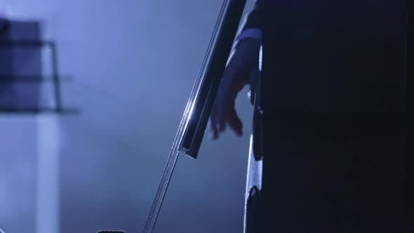 Thumbnail for Musician Plays the Cello Close-up Bow and Strings Blacklit