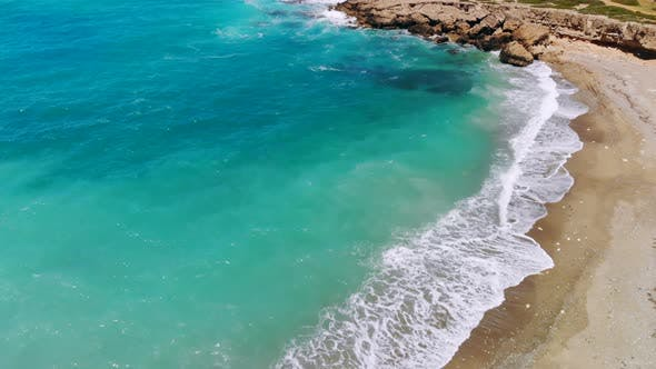Thumbnail for Deserted Beach with Crystal Clear Water on Shores of Mediterranean Sea, Aerial View