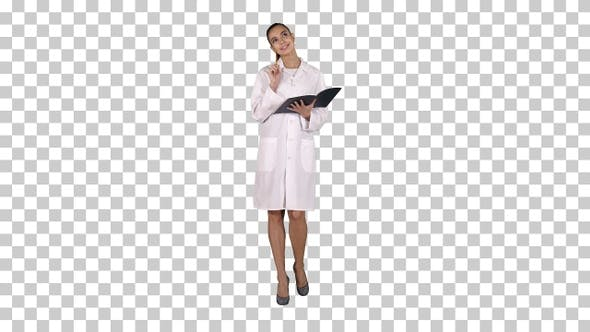 Thumbnail for Expressive Young Female Doctor with Creative Idea Holding Notebook