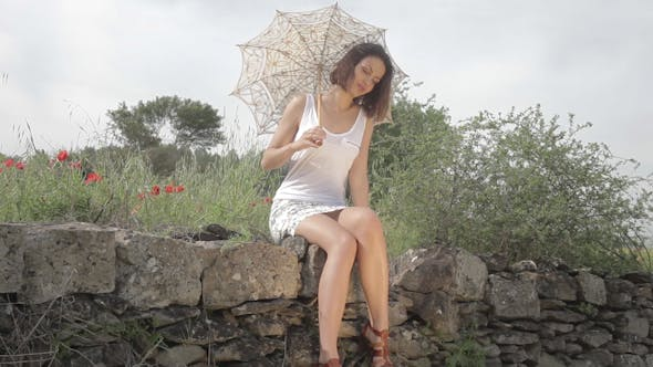 Thumbnail for Beautiful Girl With Umbrella Countryside Spring 7