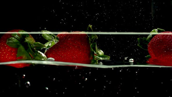 Thumbnail for Fresh Strawberry Fruit Dropped Into Water 8