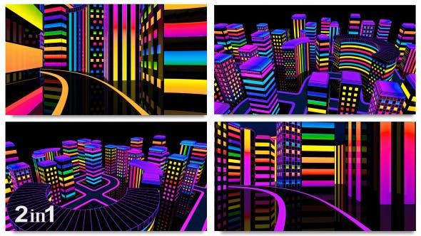 Thumbnail for City Colorful Neon Glow (2-Pack)