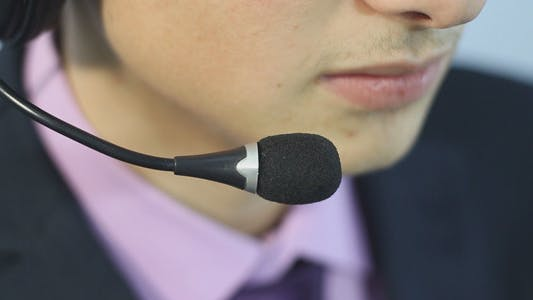 Call Center Operator Answers the Call