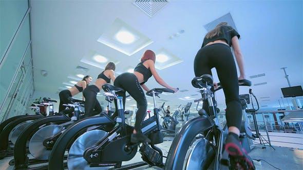 A Group Of Girls On A Stationary Bike
