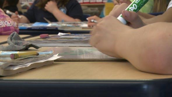 Grammar School Student Using Magic Markers (4 Of 8)