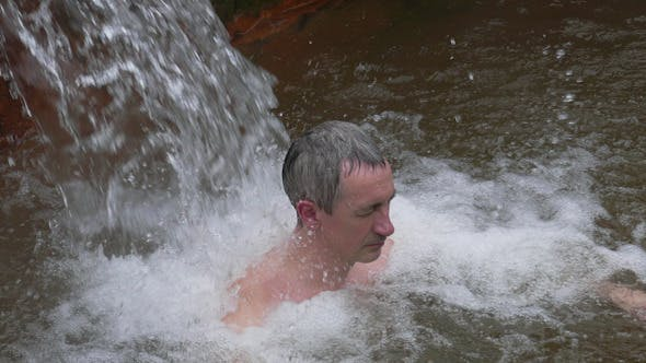 Thumbnail for Man Taking Bath in Hot Springs
