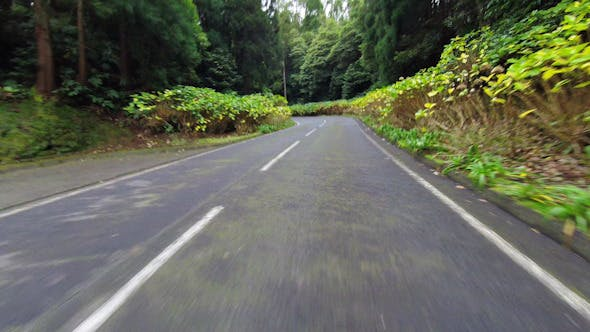 Fast Driving onto Curved Mountain Road