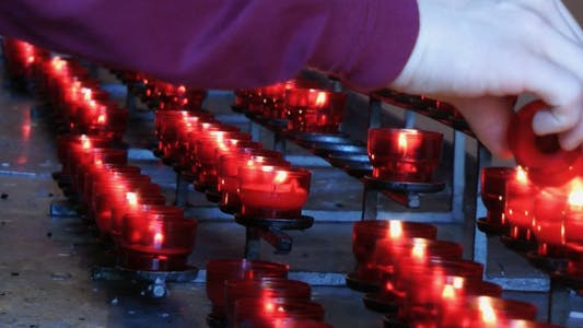 Thumbnail for Wish Praying Red Candles in Church