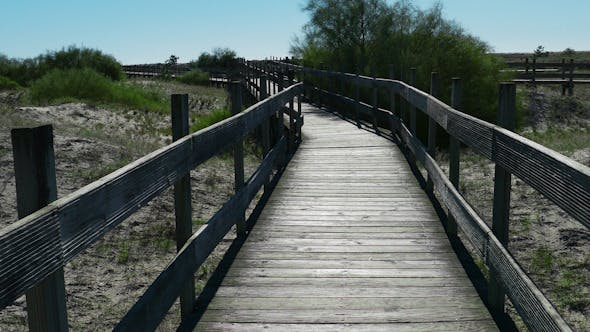 Thumbnail for Walking on Wooden Walkway in the Sand Dunes