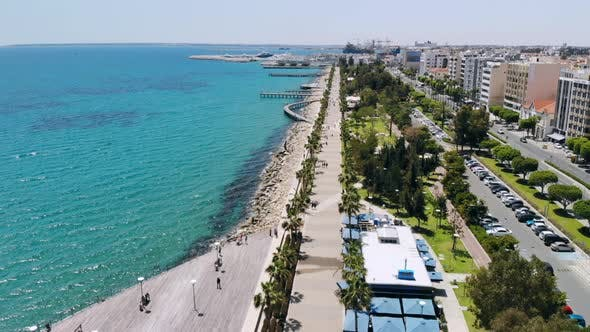 Thumbnail for Limassol City Embankment on Sunny Day, Aerial View
