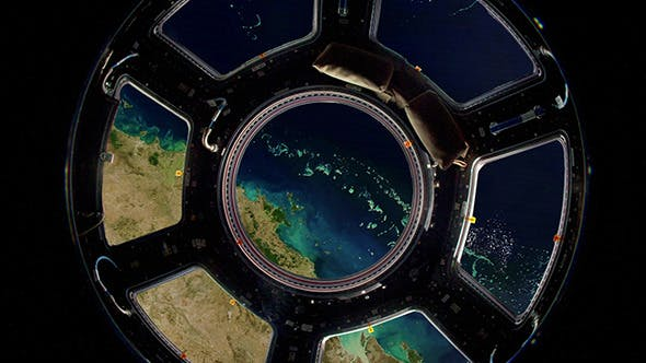 Earth As Seen Through Window International Space
