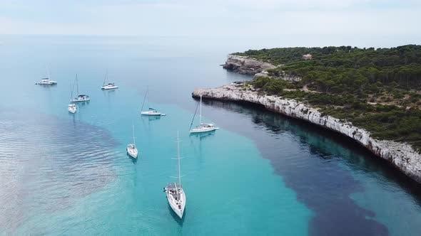 Aerial: The beach of Cala Mondrago in Mallorca, Spain