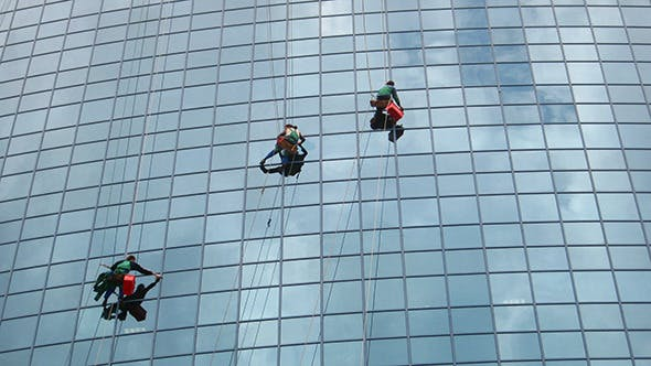 Thumbnail for Window Cleaners At Work On Skyscraper