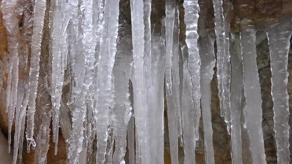 Thumbnail for Ice Icicles on Rocky Wall