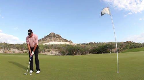 Golf Swing Put Professional Golfer Flag