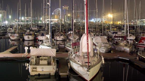 Thumbnail for Barcelona Port Vell Harbour Boats Night 1