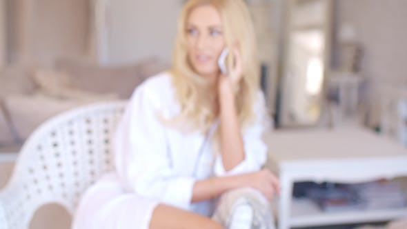Thumbnail for Happy Blond Female Calling At Phone Looking Left 2