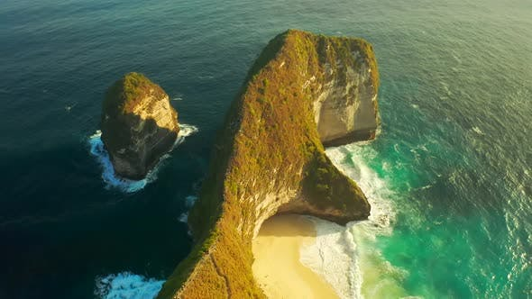 Thumbnail for Manta Bay or Kelingking Beach on Nusa Penida Island, Bali, Indonesia, Aerial View