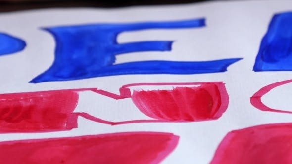 Thumbnail for Drawing With Brush With Red Paint. Close Up.