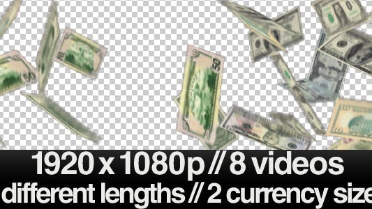 Thumbnail for 8 Videos of Money Falling / Raining out of the sky
