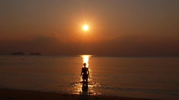 Thumbnail for Woman Walking Towards Sunset In The Sea