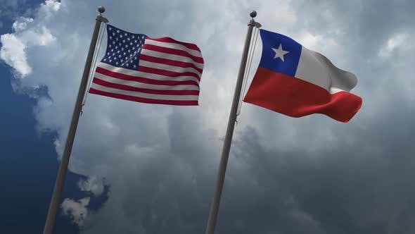 Waving Flags Of The United States And The Chile 4K