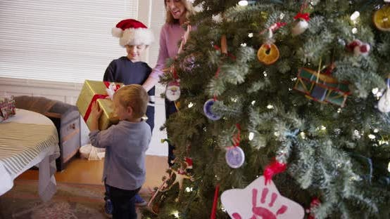 Thumbnail for Two little young boys spending x-mas with parents