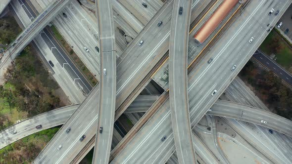 Thumbnail for AERIAL: Spectacular Overhead Shot of Judge Pregerson Highway Showing Multiple Roads, Bridges