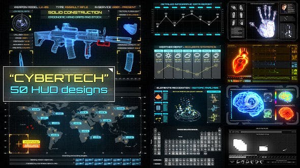 Thumbnail for CyberTech HUD Infographic Pack