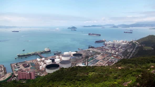 Thumbnail for Container Port Vast Hong Kong Harbour with Industrial District