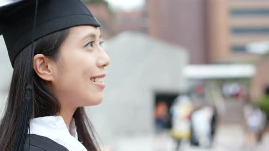 Thumbnail for Happy woman get graduation in university