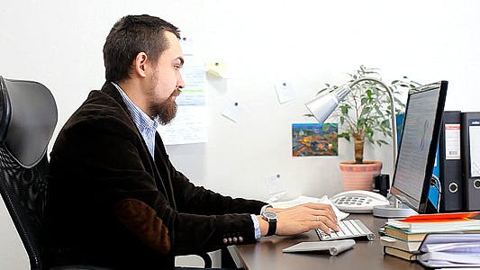 Businessman Working on the Computer in the Office