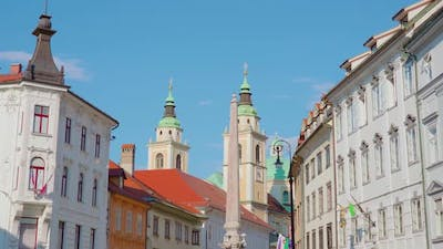 Ljubljana Street with Historical Architectural Buildings