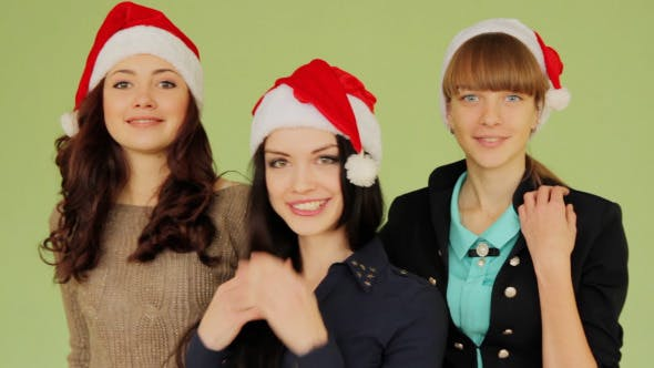 Thumbnail for Girls in Christmas Hat Having Fun